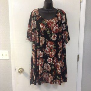 VIBE 3X black with floral roses tunic/dress